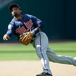 Minnesota Twins shortstop Alexi Casilla throws out Cleveland Indians' Jordan Brown in the eighth inning in a baseball game, Sunday, Sept. 12, 2010, in Cleveland. The Twins won 6-2. (AP Photo ...