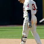 Cleveland Indians' Asdrubal Cabrera reacts after trying to stretch a single into a double but getting tagged out in the seventh inning in a baseball game, Sunday, Sept. 12, 2010, in Clevelan ...