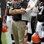 Cleveland Browns coach Eric Mangini watches from the sidelines in the second quarter of an NFL football game against the Kansas City Chiefs Sunday, Sept. 19, 2010, in Cleveland. (AP Photo/To ...