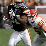 Cleveland Browns tight end Benjamin Watson (82) is chased by Kansas City Chiefs linebacker Andy Studebaker on a 44-yard pass reception in the first quarter of an NFL football game Sunday, Se ...