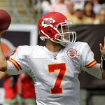 Kansas City Chiefs quarterback Matt Cassel passes during the first quarter of an NFL football game against the Cleveland Browns Sunday, Sept. 19, 2010, in Cleveland. (AP Photo/Mark Duncan)