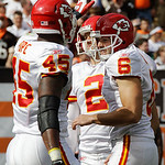 Kansas City Chiefs place kicker Ryan Succop (6) is congratulated by Leonard Pope after kicking a 23-yard field goal in the fourth quarter of an NFL football game against the Cleveland Browns ...