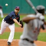 Cleveland Indians' Mitch Talbot pitches to Detroit Tigers' Austin Jackson during the first inning in the first game of a baseball doubleheader Wednesday, Sept. 29, 2010, in Cleveland. (AP Ph ...