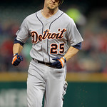 Detroit Tigers' Ryan Raburn rounds the bases after a two-run home run off Cleveland Indians starting pitcher Josh Tomlin in the first inning of the second game of a baseball doubleheader Wed ...