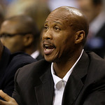 Cleveland Cavaliers head coach Byron Scott instructs his team from the bench in the first half of an NBA basketball game against the Dallas Mavericks, Monday, Oct. 11, 2010, in Dallas. The C ...
