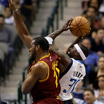 Dallas Mavericks' Jason Terry (31) is fouled by Cleveland Cavaliers' Samardo Samuels (24) in the first half of a preseason NBA basketball game, Monday, Oct. 11, 2010, in Dallas. (AP Photo/To ...