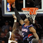 Atlanta Hawks' Josh Smith, right, blocks a layup attempt by Cleveland Cavaliers' Daniel Gibson during the third quarter of an NBA basketball game in Cleveland, Tuesday, Nov. 2, 2010. The Haw ...
