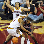 Atlanta Hawks' Joe Johnson, right, tries to steal the ball from the Cleveland Cavaliers' Jamario Moon in the second quarter of an NBA basketball game in Cleveland, Tuesday, Nov. 2, 2010. At  ...