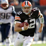 Cleveland Browns quarterback Colt McCoy (12) runs for a 16-yard touchdown against the New England Patriots in the third quarter of an NFL football game  Sunday, Nov. 7, 2010, in Cleveland. T ...
