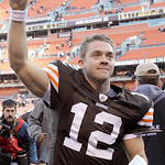 Cleveland Browns quarterback Colt McCoy (12) comes off the field after the Browns beat the New England Patriots 34-14 in their NFL football game on Sunday, Nov. 7, 2010, in Cleveland.  (AP P ...