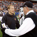 Cleveland Browns head coach Eric Mangini, left, congratulates New York Jets coach Rex Ryan after the Jets defeated the Browns 26-20 in overtime of an NFL football game Sunday, Nov. 14, 2010, ...