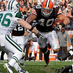 Cleveland Browns running back Peyton Hillis (40) runs for a short gain against New York Jets safety Jim Leonhard (36) in the second quarter of an NFL football game Sunday, Nov. 14, 2010, in  ...