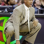 Cleveland Cavaliers coach Byron Scott watches during the third quarter in an NBA basketball game against the Philadelphia 76ers on Tuesday, Nov. 16, 2010, in Cleveland. The Cavaliers won 101 ...
