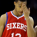 Philadelphia 76ers guard Evan Turner wipes sweat from his forehead as he walks off the court after the Cleveland Cavaliers beat the 76ers 101-93 in an NBA basketball game Tuesday, Nov. 16, 2 ...