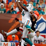 Miami Dolphins wide receiver Marlon Moore (14) cannot make the catch as Cleveland Browns cornerback Joe Haden, right, defends in the third quarter during an NFL football game in Miami, Sunda ...