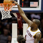 Cleveland Cavaliers' Antawn Jamison dunks the ball in front of Chicago Bulls' Joakim Noah in the second quarter of an NBA basketball game Wednesday, Dec. 8, 2010, in Cleveland. The Bulls won ...