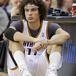 In this Nov. 16, 2010, photo, Cleveland Cavaliers' Anderson Varejao, from Brazil, waits to enter an NBA basketball game against the Philadelphia 76ers in Cleveland. Varejao is done for the s ...