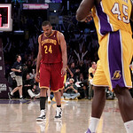 Cleveland Cavaliers power forward Samardo Samuels walks off the court after an NBA basketball game with the Los Angeles Lakers in Los Angeles, Tuesday, Jan. 11, 2011. The Lakers won 112-57.  ...