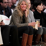 Actress Cameron Diaz watches an NBA basketball game between the Los Angeles Lakers and the Cleveland Cavaliers in Los Angeles, Tuesday, Jan. 11, 2011. (AP Photo/Jae C. Hong)