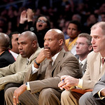 Cleveland Cavaliers head coach Byron Scott, center, watches during the second half of an NBA basketball game with the Los Angeles Lakers in Los Angeles, Tuesday, Jan. 11, 2011. The Lakers wo ...