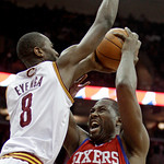 Philadelphia 76ers' Elton Brand (42) is stopped by Cleveland Cavaliers' Christian Eyenga, from the Republic of Congo, (8) in the second quarter of an NBA basketball game Sunday, Feb. 27, 201 ...