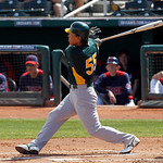 Oakland Athletics' Hideki Matsui grounds out to first against the Cleveland Indians during the second inning of a spring training baseball game in Goodyear, Ariz., Monday, March 14, 2011. (A ...