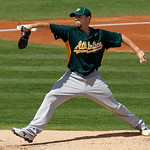 Oakland Athletics starting pitcher Dallas Braden throws to the Cleveland Indians during the second inning of a spring training baseball game in Goodyear, Ariz., Monday, March 14, 2011. (AP P ...