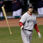 Boston Red Sox's J.D. Drew throws his bat after striking out against Cleveland Indians starting pitcher Mitch Talbot in the third inning of a baseball game Wednesday, April 6, 2011, in Cleve ...