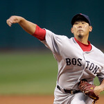 Boston Red Sox starter Daisuke Matsuzaka pitches in the first inning of a baseball game against the Cleveland Indians, Wednesday, April 6, 2011, in Cleveland. (AP Photo/Tony Dejak)
