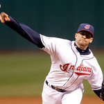 Cleveland Indians starter Mitch Talbot pitches in the first inning of a baseball game against the Boston Red Sox, Wednesday, April 6, 2011, in Cleveland. (AP Photo/Tony Dejak)
