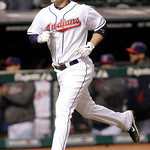 Cleveland Indians' Matt LaPorta runs the bases after hitting a solo home run off Boston Red Sox pitcher Tim Wakefield in the eighth inning of a baseball game Wednesday, April 6, 2011, in Cle ...