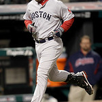 Boston Red Sox's Adrian Gonzalez runs the bases after hitting a two-run home run in the seventh inning of a baseball game against the Cleveland Indians, Wednesday, April 6, 2011, in Clevelan ...