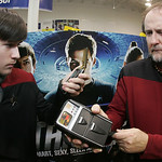 17NNOV09  Capt. Thomas B. Heffner holds a medical Tricorder (as seen on the original Star Trek series on tv) up to his son, Cadet Lt. James E. Heffner.  The re-enactors set up a table at the ...