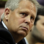Boston Celtics president of basketball operations Danny Ainge watches the action in the second quarter of Game 2 against the Cleveland Cavaliers in the second round of an NBA basketball play ...