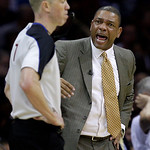 Boston Celtics coach Doc Rivers, right, complains to referee Ed Malloy  in the second quarter of Game 2 against the Cleveland Cavaliers in the second round of an NBA basketball playoff serie ...