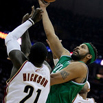 Boston Celtics' Rasheed Wallace shoots over Cleveland Cavaliers' J.J. Hickson (21) in the second quarter of Game 2 in the second round of an NBA basketball playoff series Monday, May 3, 2010 ...
