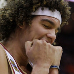 Cleveland Cavaliers' Anderson Varejao, from Brazil, reacts after being called for a foul in the third quarter of Game 2 against the Boston Celtics in the second round of an NBA basketball pl ...