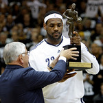 NBA Commission er David Stern, left, presents the NBA MVP trophy to Cleveland Cavaliers' LeBron James before Game 2 against the Boston Celtics in the second round of an NBA basketball playof ...