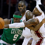 Cleveland Cavaliers' Mo Williams, right, bats the ball away from Boston Celtics' Rajon Rondo (9) in the first quarter of Game 2  in the second round of an  NBA basketball playoff series Mond ...