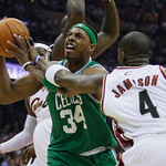Boston Celtics' Paul Pierce (34) is fouled by Cleveland Cavaliers' Antawn Jamison (5) in the first quarter of Game 2 in the second round of an NBA basketball playoff series Monday, May 3, 20 ...