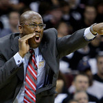Cleveland Cavaliers coach Mike Brown screams at his team in the third quarter of Game 2 against the Boston Celtics in the second round of an NBA basketball playoff series Monday, May 3, 2010 ...