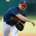 Cleveland Indians' Jake Westbrook pitches against the Toronto Blue Jays in the first inning of a baseball game Tuesday, May 4, 2010, in Cleveland. (AP Photo/Mark Duncan)