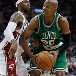 Boston Celtics' Ray Allen, right, drives on Cleveland Cavaliers' Mo Williams in the second quarter of Game 5 of a second round NBA basketball playoff series Tuesday, May 11, 2010, in Clevela ...