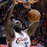 Cleveland Cavaliers' Shaquille O'Neal dunks against the Boston Celtics in the first quarter of Game 5 of a second round NBA basketball playoff series Tuesday, May 11, 2010, in Cleveland. (AP ...