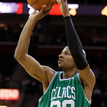 Boston Celtics' Ray Allen shoots a 3-point shot against the Cleveland Cavaliers in the fourth quarter of Game 5 of a second round NBA basketball playoff series Tuesday, May 11, 2010, in Clev ...
