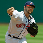 Cleveland Indians' Jake Westbrook pitches against the Chicago White Sox in the first inning of a baseball game Wednesday, May 26, 2010, in Cleveland. (AP Photo/Mark Duncan)