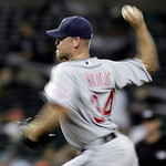 Cleveland Indians closer Kerry Wood throws against the Detroit Tigers in the ninth inning of a MLB baseball game in Detroit Tuesday, June 1, 2010. Cleveland won 3-2. (AP Photo/Paul Sancya)