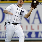 Detroit Tigers right fielder Magglio Ordonez catches a Cleveland Indians' Lou Marson fly ball in the seventh inning of a MLB baseball game in Detroit Tuesday, June 1, 2010. (AP Photo/Paul Sa ...