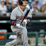 Cleveland Indians' Shin-Soo Choo, of South Korea, watches his solo home run against the Detroit Tigers in the sixth inning of a  baseball game in Detroit Tuesday, June 1, 2010. (AP Photo/Pau ...