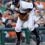 Detroit Tigers third baseman blocks a Cleveland Indians' Lou Marson ground ball in the fifth inning of a  baseball game in Detroit Tuesday, June 1, 2010. Inge threw Marson out at first base. ...